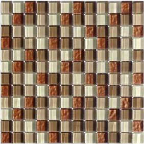 Glas Mosaik 8 mm 3D Effekt Braun Beige Wave Mix