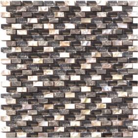 Glas Naturstein Perlmut Mosaik 8 mm Dunkel Braun (Darkbrown) 10/20 mm