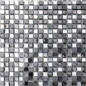 Mosaik schwarz/grau 2,3x2,3 cm auf Netz 30,5x30,5 cm
