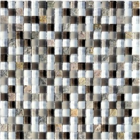 Glas Natursteinmosaik 8 mm Quarzit Beige 15