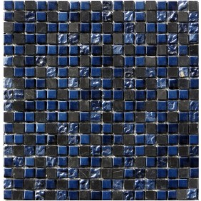 Glas Mosaik 8 mm Effekt Optik Schwarz (Black) 15