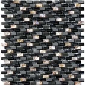 Glas Naturstein Perlmut Mosaik 8 mm Schwarz (Black) 10/20 mm