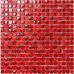 Glas Naturstein Mosaik 8 mm mit Dekor Mini Red