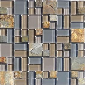 Glas Naturstein Mosaik 8 mm Schiefer Multicolor Multiformat