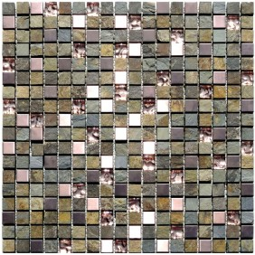 Naturstein Glas Metall Mosaik 8 mm Schiefer Multicolor 15