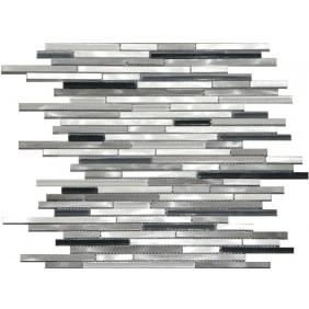 Aluminium Glas Mosaik 8 mm Schwarz Mix Stripes