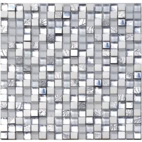 Naturstein Glas Metall Mosaik 8 mm Silver White 15