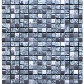 Glas Naturstein Keramik Mosaik 8 mm Mini Grey Mix