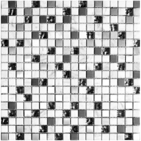 Naturstein Glas Metall Mosaik 8 mm White 15