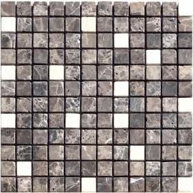 Naturstein Mosaik 8 mm Braun Weiß Mix (Emperador Cream) getrommelt