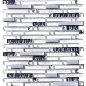 Glas Naturstein Mosaik 8 mm Perlmut optik Weiss Line 15