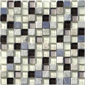Naturstein Glas Alu Mosaik 8 mm Silver 23