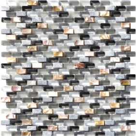 Glas Naturstein Perlmut Mosaik 8 mm Grau (Grey) 10/20 mm