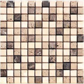 Naturstein Mosaik 8 mm Braun Beige Mix getrommelt