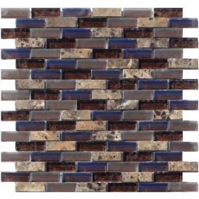 Glas Naturstein Metall Mosaik 8 mm Braun Brown