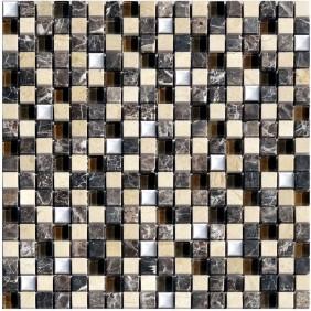 Naturstein Glas Metall Mosaik 8 mm Braun Beige 15