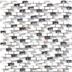 Glas Naturstein Perlmut Mosaik 8 mm Weiss (White) 10/20 mm