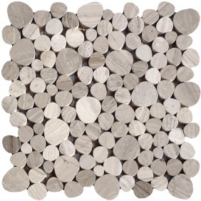 Kiesel Mosaik Grau poliert (Wood)