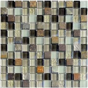 Naturstein Glas Alu Mosaik 8 mm Green 23