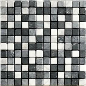 Naturstein Mosaik 8 mm Schwarz Grau Weiss Mix getrommelt