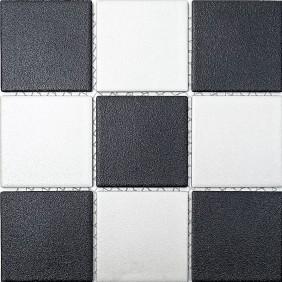 Keramik Mosaik Schwarz Weiss Mix 10x10cm Antislip Rutschfest R10B