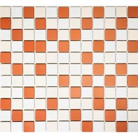 Keramik Mosaik Orange Beige Weiss 2,5x2,5cm  Antislip Rutschfest