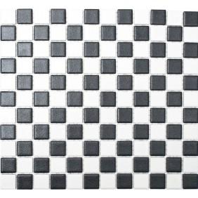 Keramik Mosaik 5mm Schwarz Weiss Mix 2,5x2,5cm  Antislip Rutschfest