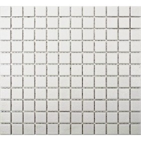Keramik Mosaik 4mm Uni Weiss 2,5x2,5cm Antislip Rutschfest