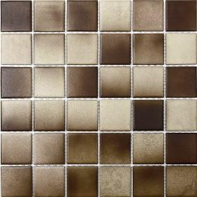 Keramik Mosaik 4mm Braun Mix 4,8x4,8cm Antislip Rutschfest R10C