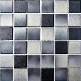 Keramik Mosaik Grau Schwarz Mix 4,8x4,8cm Antislip Rutschfest R10C