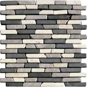 Naturstein Mosaik 8 mm Schwarz Grau Cream Line Brick getrommelt