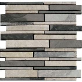 Naturstein Mosaik Grau Weiss Mix Verband geschliffen