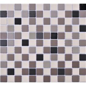 Feinsteinzeug Mosaik 5 mm Grau Schwarz Mix 2,3x2,3cm Antislip Rutschfest