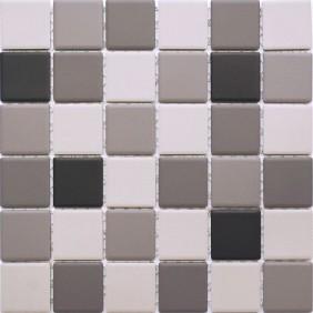 Feinsteinzeug Mosaik 5 mm Grau Schwarz Mix 4,8x4,8cm Antislip Rutschfest