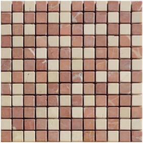 Naturstein Mosaik 8 mm Rot Beige Mix (Rosso Cream) getrommelt