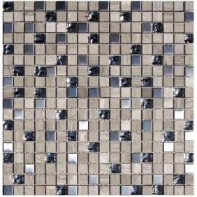 Naturstein Glas Metall Mosaik 8 mm Grau Holzopptik  15