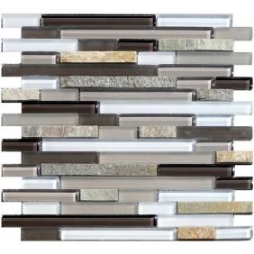 Glas Natursteinmosaik 8 mm Quarzit Beige Line