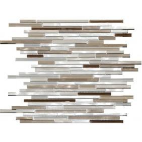 Aluminium Glas Mosaik 8 mm Braun Mix Stripes