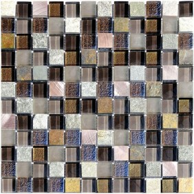 Naturstein Glas Alu Mosaik 8 mm Grey 23