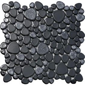 Keramik Kiesel Mosaik 4 mm Schwarz Mix