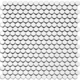 Keramik Knopf Mosaik 4 mm Weiß glänzend