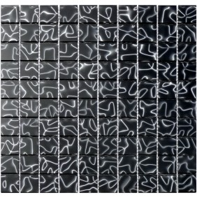 Glas Mosaik 4 mm 3D Effekt Black 30