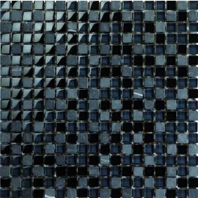 Mosaik schwarz/grau mix 1,5x1,5 cm auf Netz 30x30