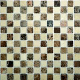 Mosaik beige/braun matt 2,3x2,3 cm auf Netz 30,5x30,5