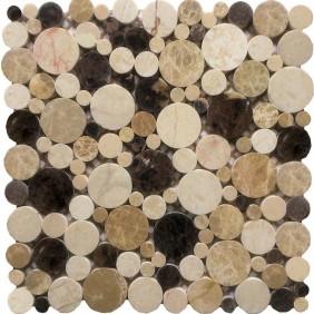 Kiesel Mosaik 8 mm Braun Beige Mix gesägt poliert auf Netzgeklebt