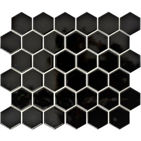 Keramik Mosaik 4 mm Uni Schwarz glanz 5,1x5,9 cm