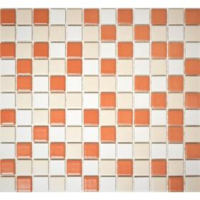 Keramik 4 mm Orange Beige Weiss Mix 2,5x2,5cm