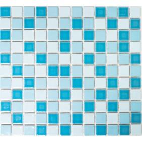 Keramik 4 mm Weiss Blau Mix matt 2,5x2,5cm