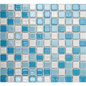 Keramik 4 mm Weiss Blau Mix glanz 2,5x2,5cm