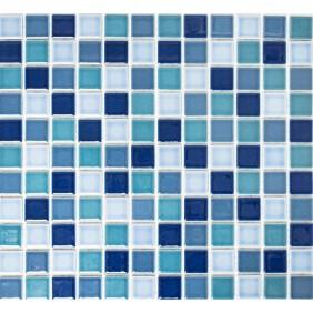 Keramik 4 mm Blau Mix glanz 2,5x2,5cm